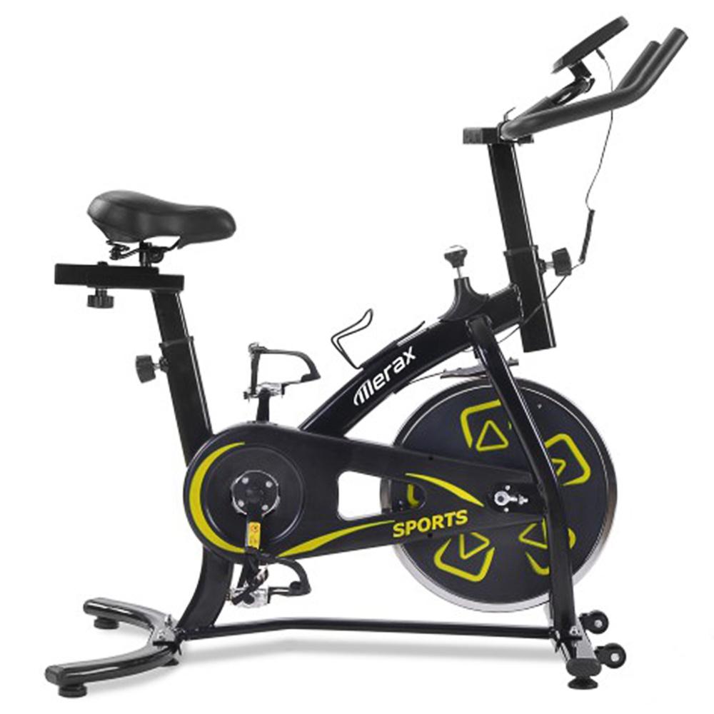 Merax Exercise Bike Εσωτερικό ποδήλατο με κονσόλα LCD Ρυθμιζόμενο κάθισμα και τιμόνι Άνετο μαξιλάρι καθίσματος Cardio Training - Μαύρο κίτρινο