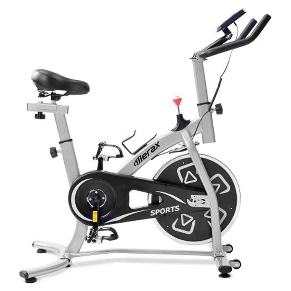 Merax Exercise Bike Εσωτερικό ποδήλατο με κονσόλα LCD Ρυθμιζόμενο κάθισμα και τιμόνι Άνετο μαξιλάρι καθίσματος Cardio Training - Μαύρο ασημί
