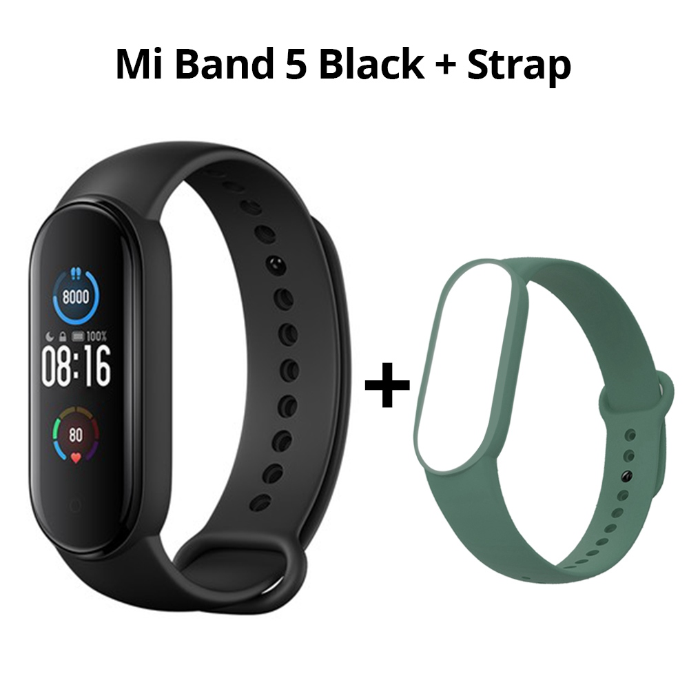 Xiaomi Mi Band 5 slimme armband Bluetooth 5.0 Sport Fitness Tracker Chinese versie Zwart + groene riem