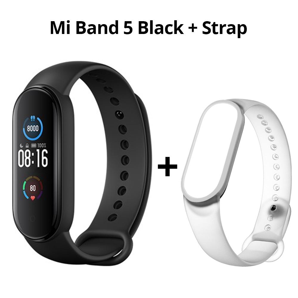 Xiaomi Mi Band 5スマートブレスレットBluetooth 5.0スポーツフィットネストラッカー中国語バージョンブラック+ホワイトストラップ