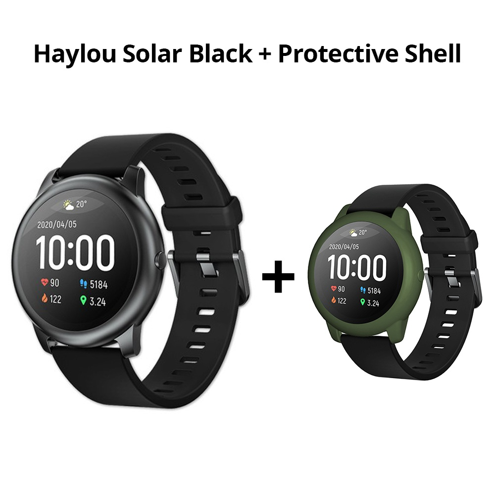 Haylou Solar LS05 1.28 inch TFT Touch Screen Smartwatch IP68 Waterproof with Heart Rate Monitor Global Version From Xiaomi Youpin Black + ArmyGreen Silicone Protective Shell