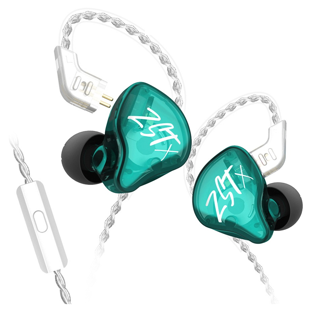 سماعات KZ ZST-X 1BA + 1DD Hybrid HIFI Bass Earbuds with Mic In-Ear Monitor Noise Cancelling Sports Earphones Silver Plated Cable - Green