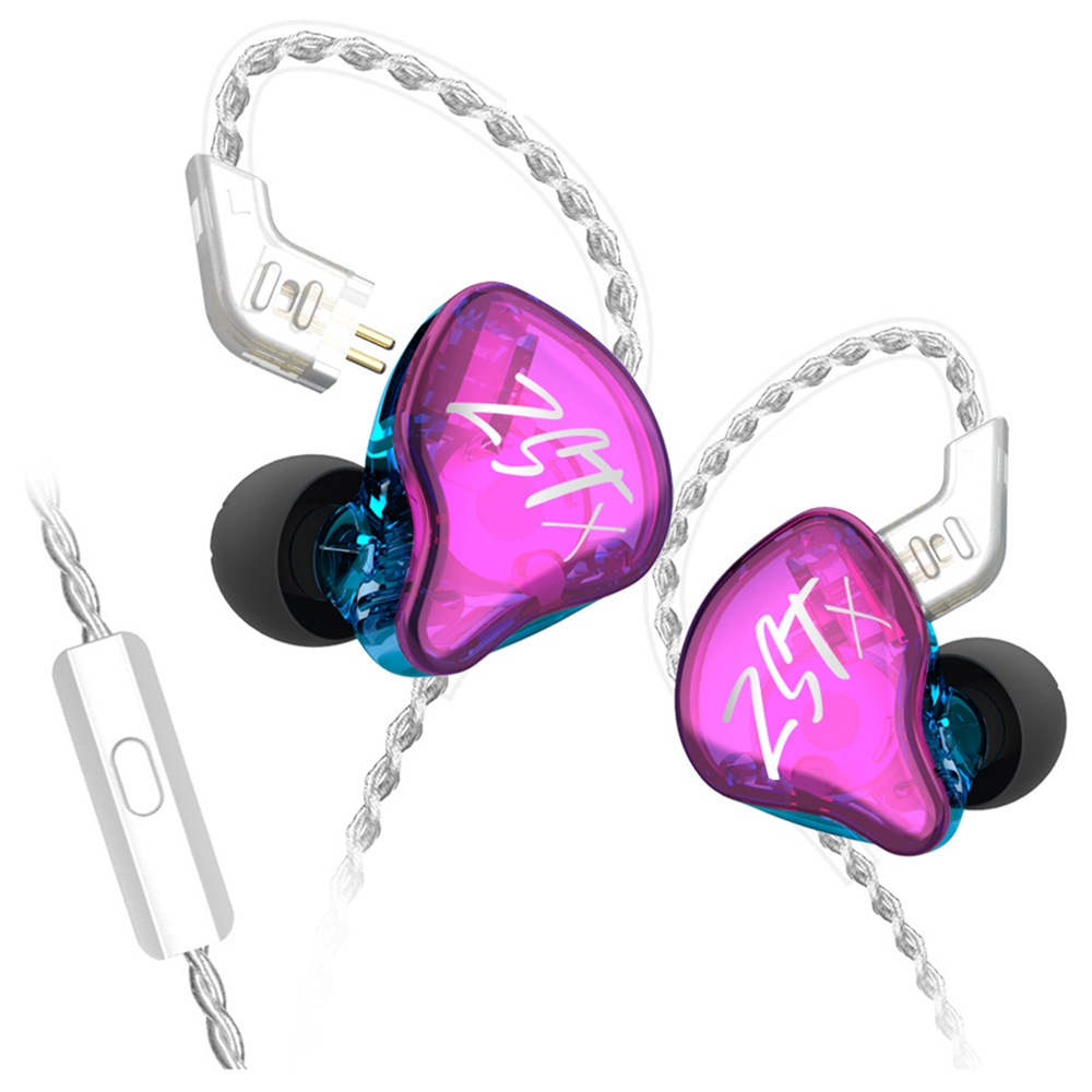 KZ ZST-X 1BA+1DD Drivers Hybrid HIFI Bass Earbuds with Mic In-Ear Monitor Noise Cancelling Sports Earphones Silver Plated Cable - Purple фото