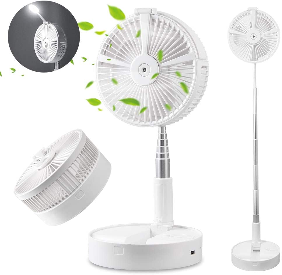 Portable Telescopic USB Fan With Mist humidifier LED Light Power Bank 4 Speed Settings for Table Desk Floor in Home Office Outdoor - White