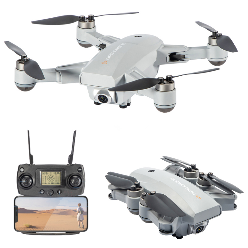 JJRC X16 6K 5G WIFI FPV GPS Brushless RC Drone con fotocamera grandangolare da 120 gradi Posizionamento del flusso ottico RTF - Grigio Due batterie con borsa