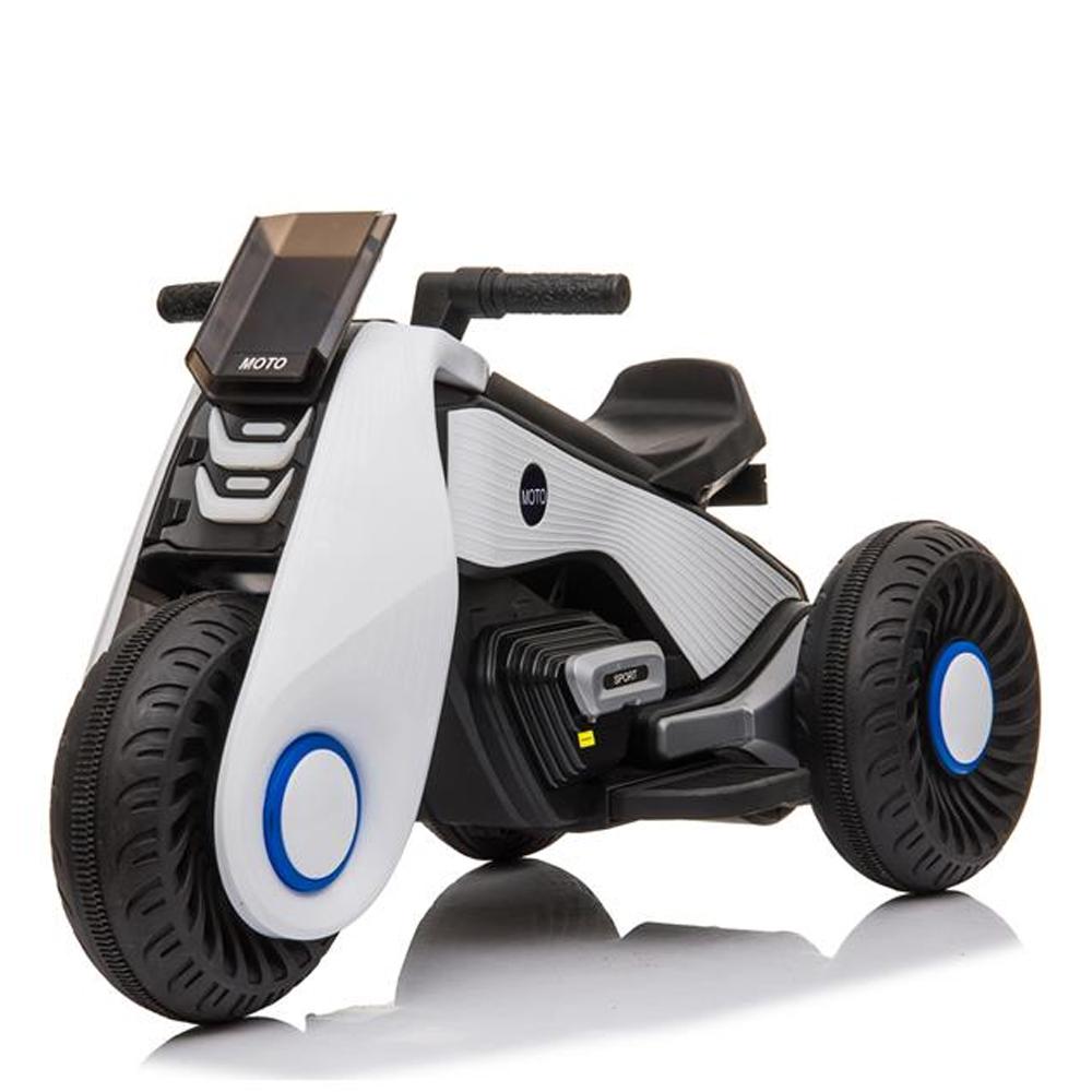 Παιδικό Ηλεκτρικό Μοτοσικλέτα 3 Τροχών Διπλό Drive με Λειτουργία Αναπαραγωγής Μουσικής - Λευκό