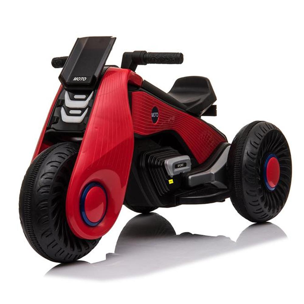 Gyerek elektromos motorkerékpár 3 kerekes dupla meghajtó zenelejátszási funkcióval - piros