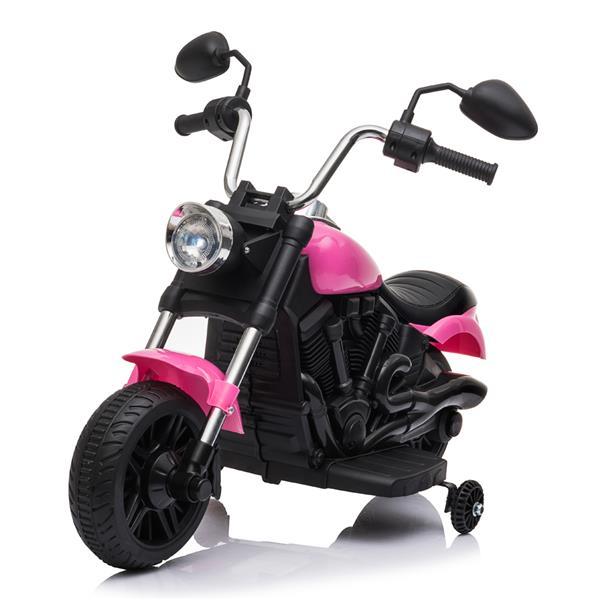 Gyerekek elektromos vezetés motorkerékpáron 6V edzőkerekekkel - rózsaszín