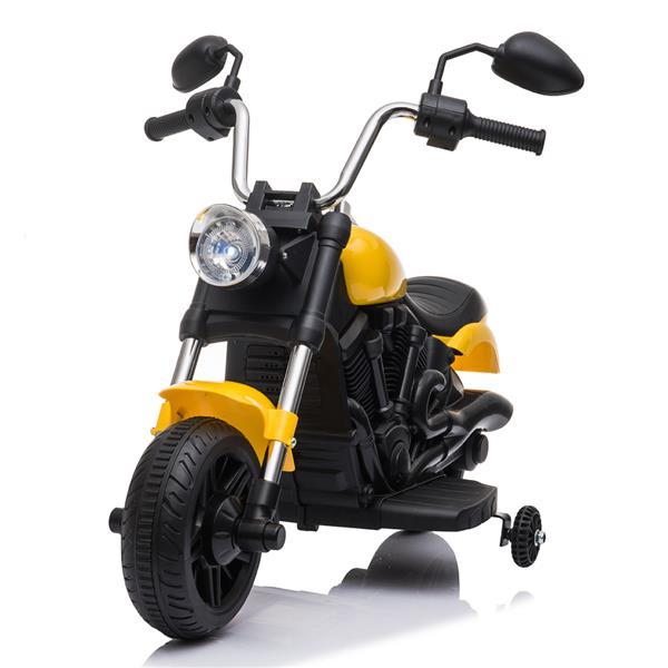 Gyerekek elektromos lovaglás motorkerékpáron 6V edzőkerekekkel - sárga