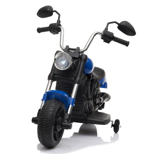 Kids Electric Ride On Motorcycle With Training Wheels 6V - Blue