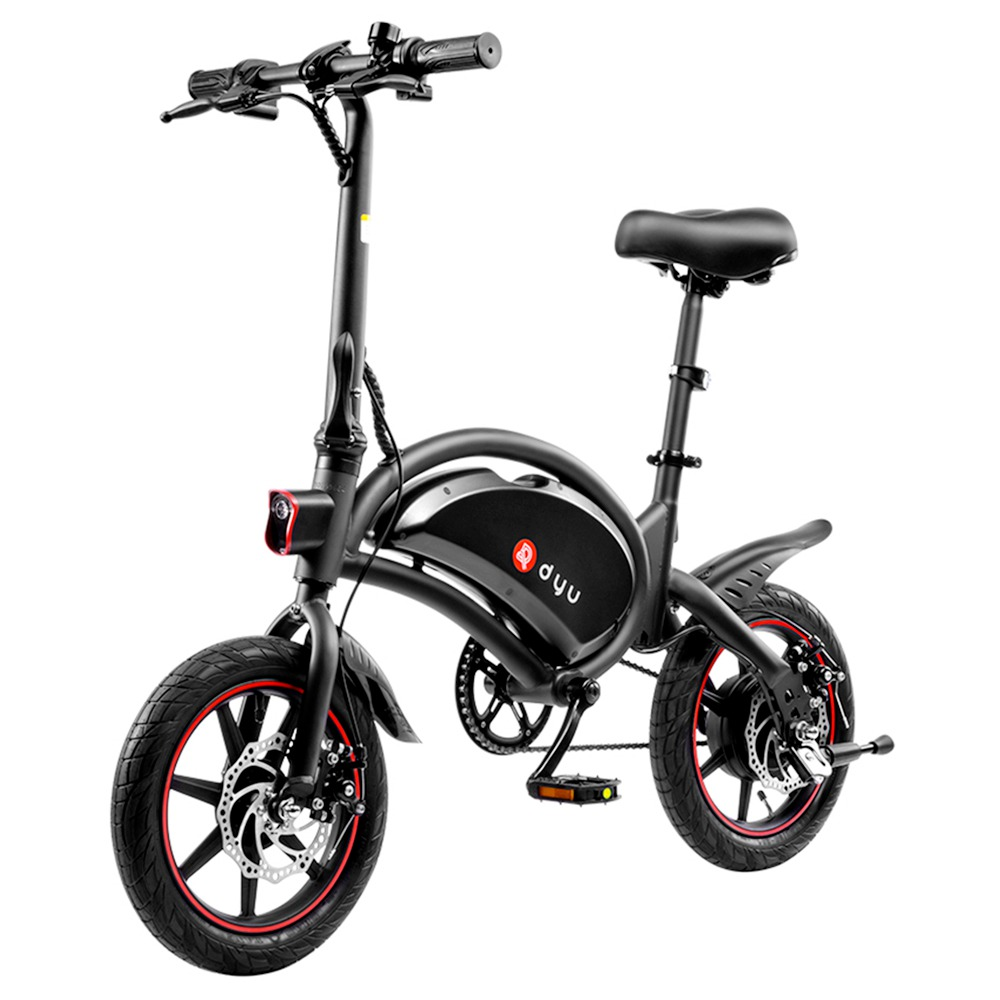 DYU D3F with Pedal Folding Moped Electric Bike 14 Inch Inflatable Rubber Tires 240W Motor Max Speed 25km/h Up To 45km 6Ah Battery Range Dual Disc Brak