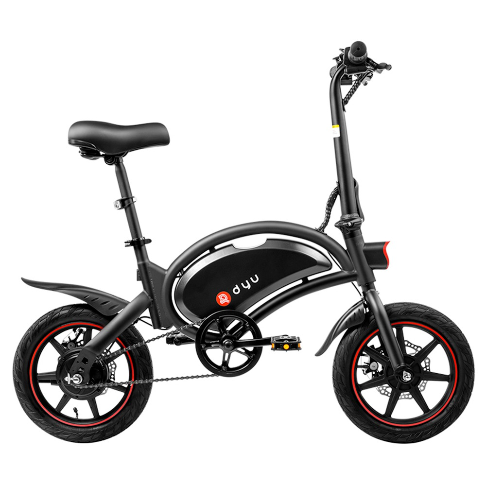 DYU D3F with Pedal Folding Moped Electric Bike 14 Inch Inflatable Rubber Tires 240W Motor Max Speed 25km/h Up To 45km 6Ah Battery Range Dual Disc Brakes Adjustable Height - Black