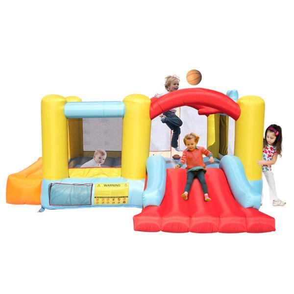 Bounce House Opblaasbaar springkasteel met een basketbalringbal en een glijbaan