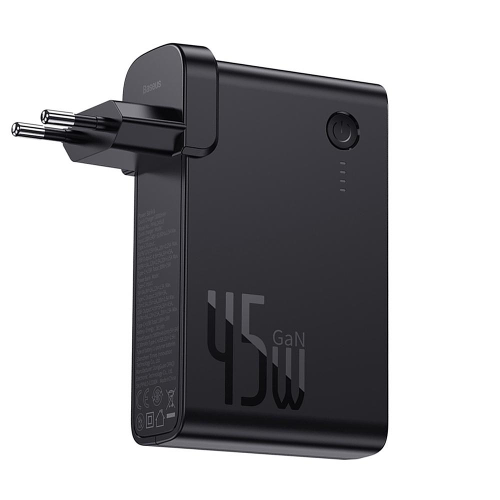 Baseus GaN 2 in 1 45 W PD Snel opladen + Powerbank 10000 mAh Batterij PD3.0 QC3.0 Stroomvoorziening Snel opladen Voeding voor iPhone 11 SE 2020 voor iPad Pro 2020 Xiaomi 10 Pro Huawei P40 Pro EU-poort - Zwart