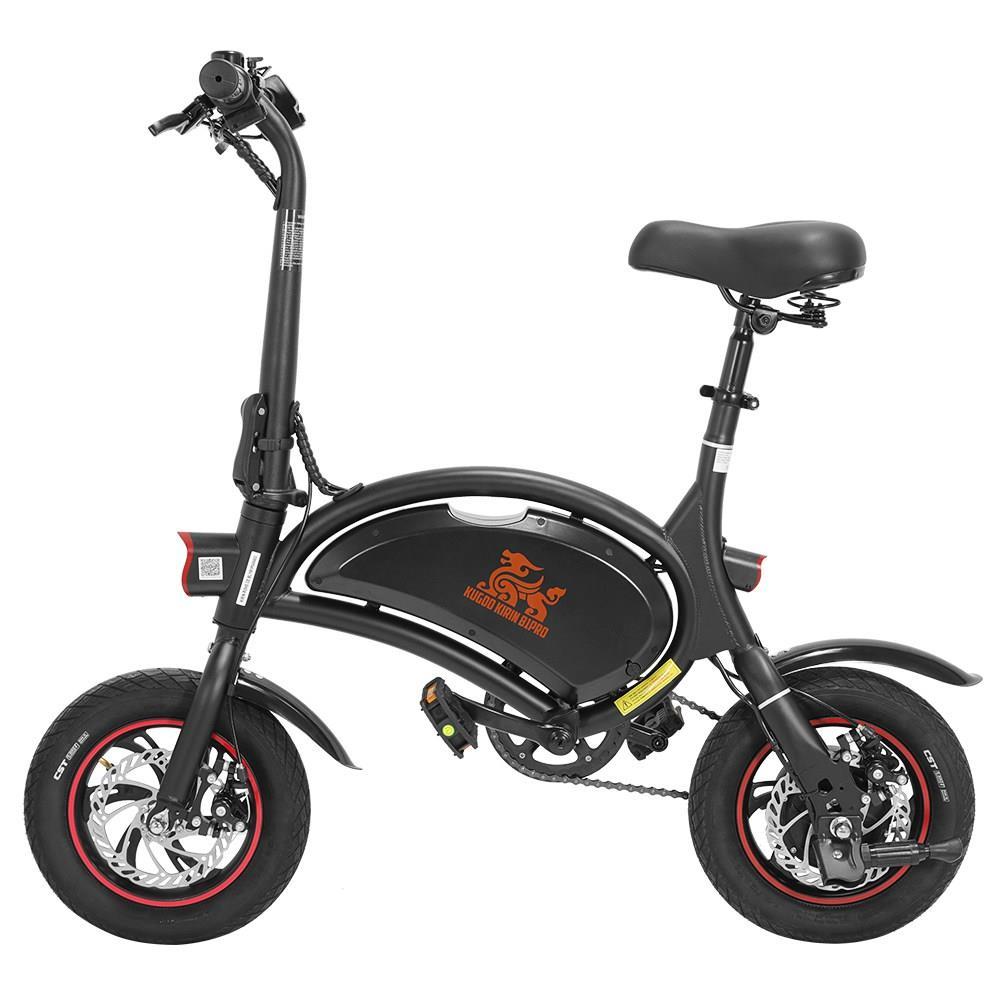 KUGOO KIRIN B1 Pro Складной мопед Электрический велосипед E-Scooter с педалями Бесщеточный двигатель 250 Вт Максимальная скорость 25 км / ч 10AH Дисковый тормоз с литиевой батареей 12 дюймов Пневматические шины - черные
