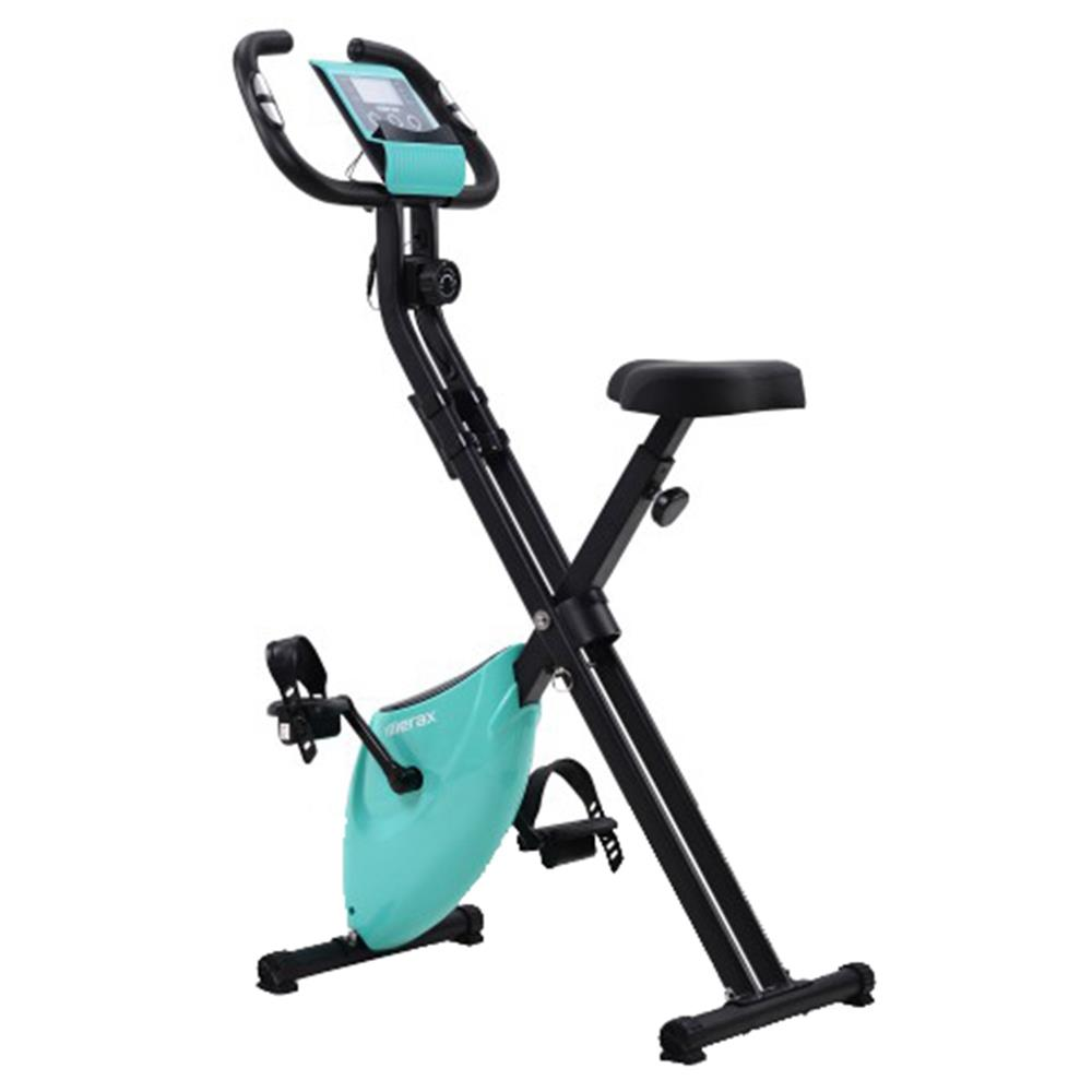 Merax X-Bike Lite Magnetic Foldable Exercise Bike with Padded Seat and LCD Console - Blue