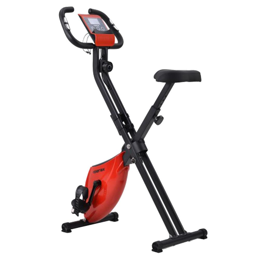 Merax X-Bike Lite Magnetic Foldable Exercise Bike with Padded Seat and LCD Console - Red