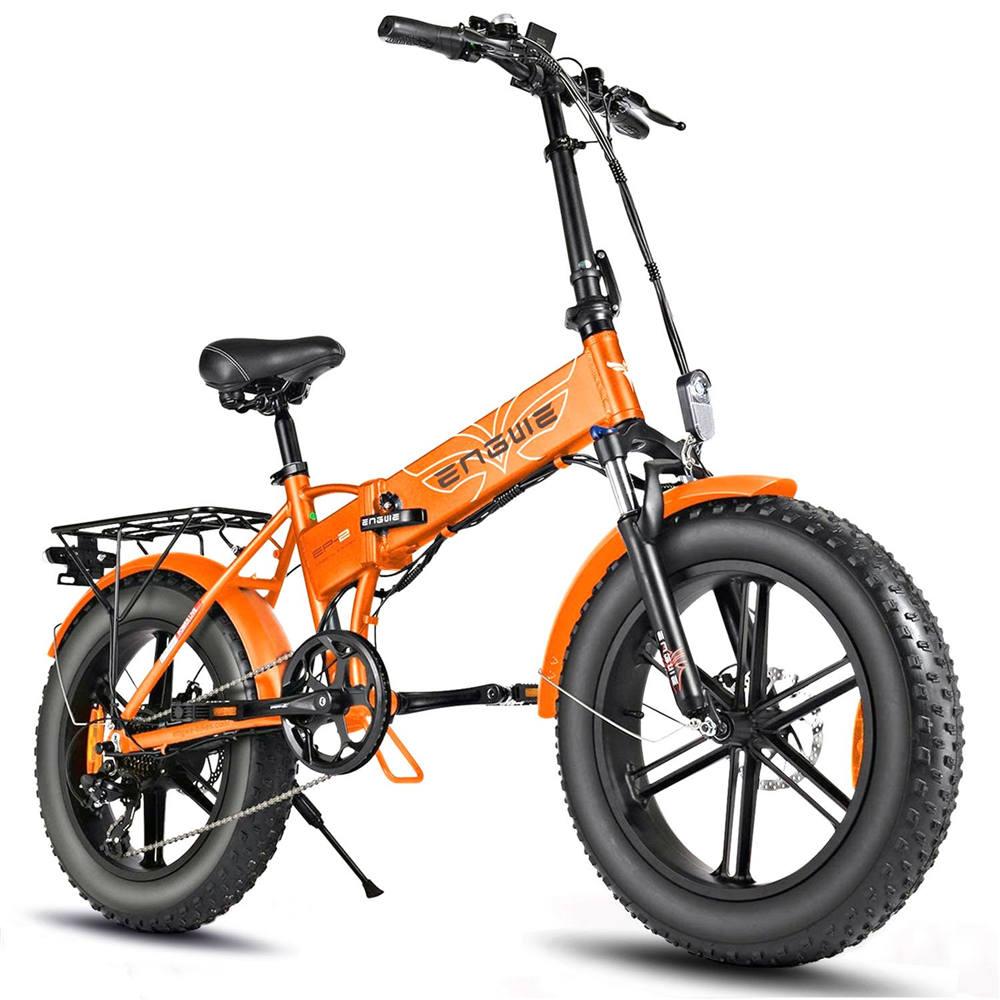 ENGWE EP-2 500W 20 inch dikke band elektrische vouwfiets bergstrand sneeuwfiets voor volwassenen aluminium elektrische scooter 7 versnellingen e-bike met verwijderbare 48V 12.5A lithiumbatterij dubbele schijf - oranje