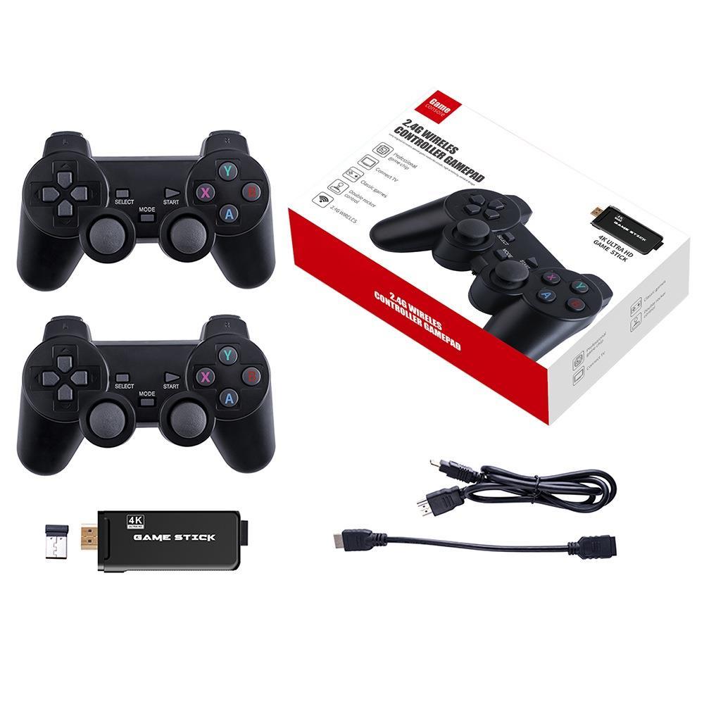 PS3000 64GB 4K Retro Game Stick con 2 Gamepads inalámbricos 10000+ Juegos preinstalados