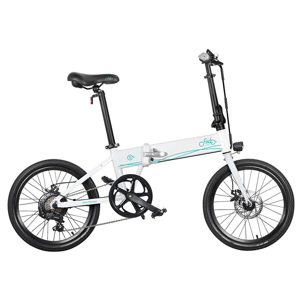 FIIDO D4S Vélo électrique pliant pour cyclomoteur Shimano 6 vitesses Vélo de ville avec changement de vitesse Vélo de banlieue 20 pouces Pneus 250W Moteur Max 25 km / h Batterie 10.4 Ah jusqu'à 80 km Plage de kilométrage - Blanc