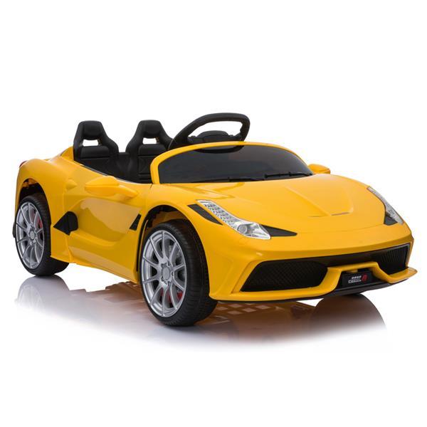 12V Kids Ride On Sports Car 2.4GHZ Τηλεχειριστήριο με λειτουργία LED Light Music - Κίτρινο