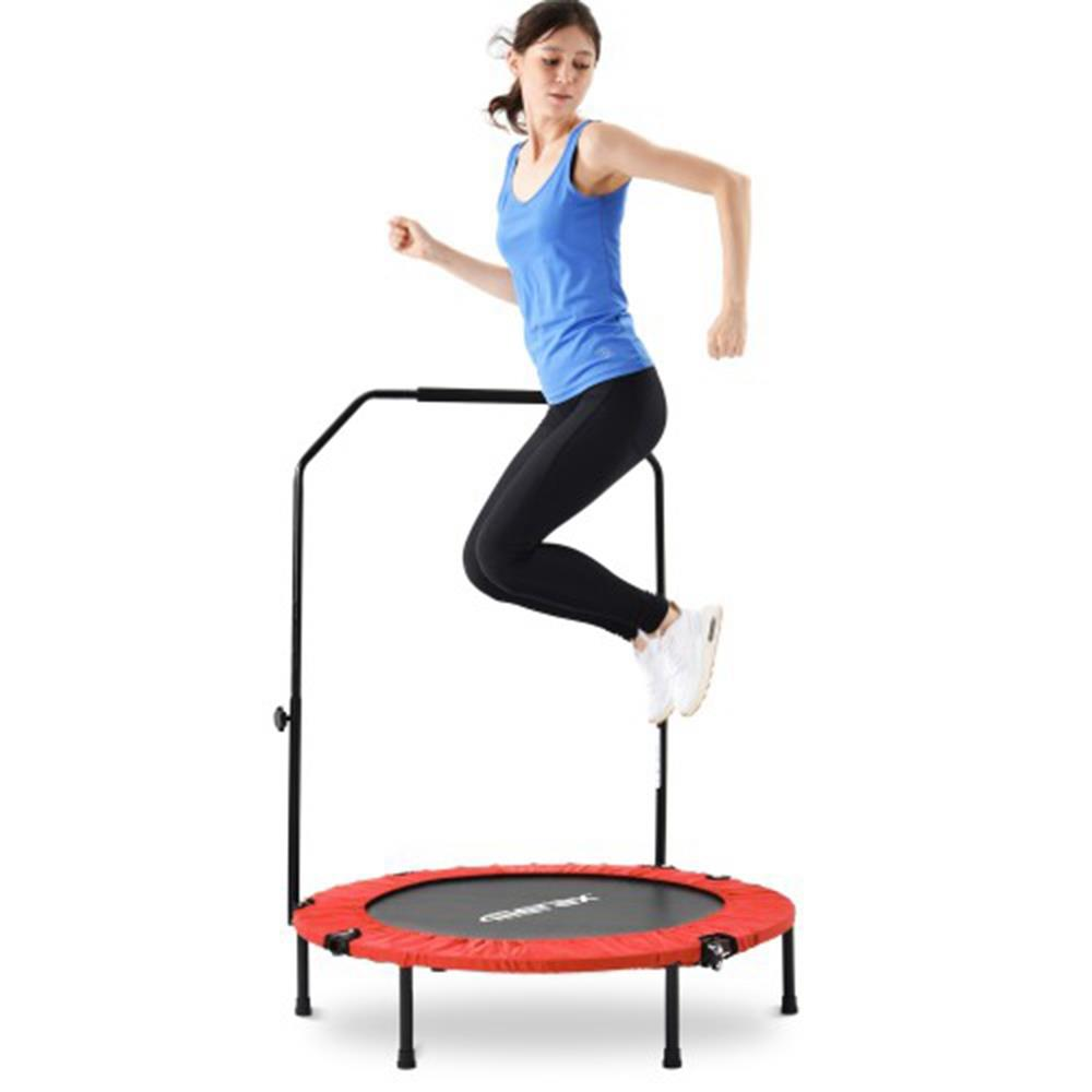 Merax 40 Inch Foldable Fitness Rebounder Mini Trampoline with Adjustable Foam Grip Home Exercise Trampoline - Red