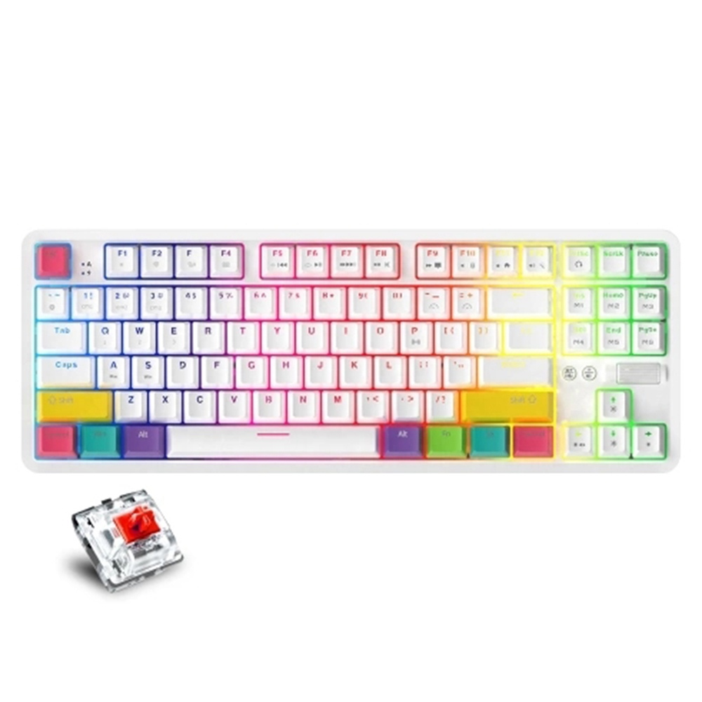AJAZZ K870T RGB Mechanical Keyboard 87 Keys Wireless Bluetooth + Type-C Wired Dual Mode Mechanical Switch Gaming Keyboard - Red Switch