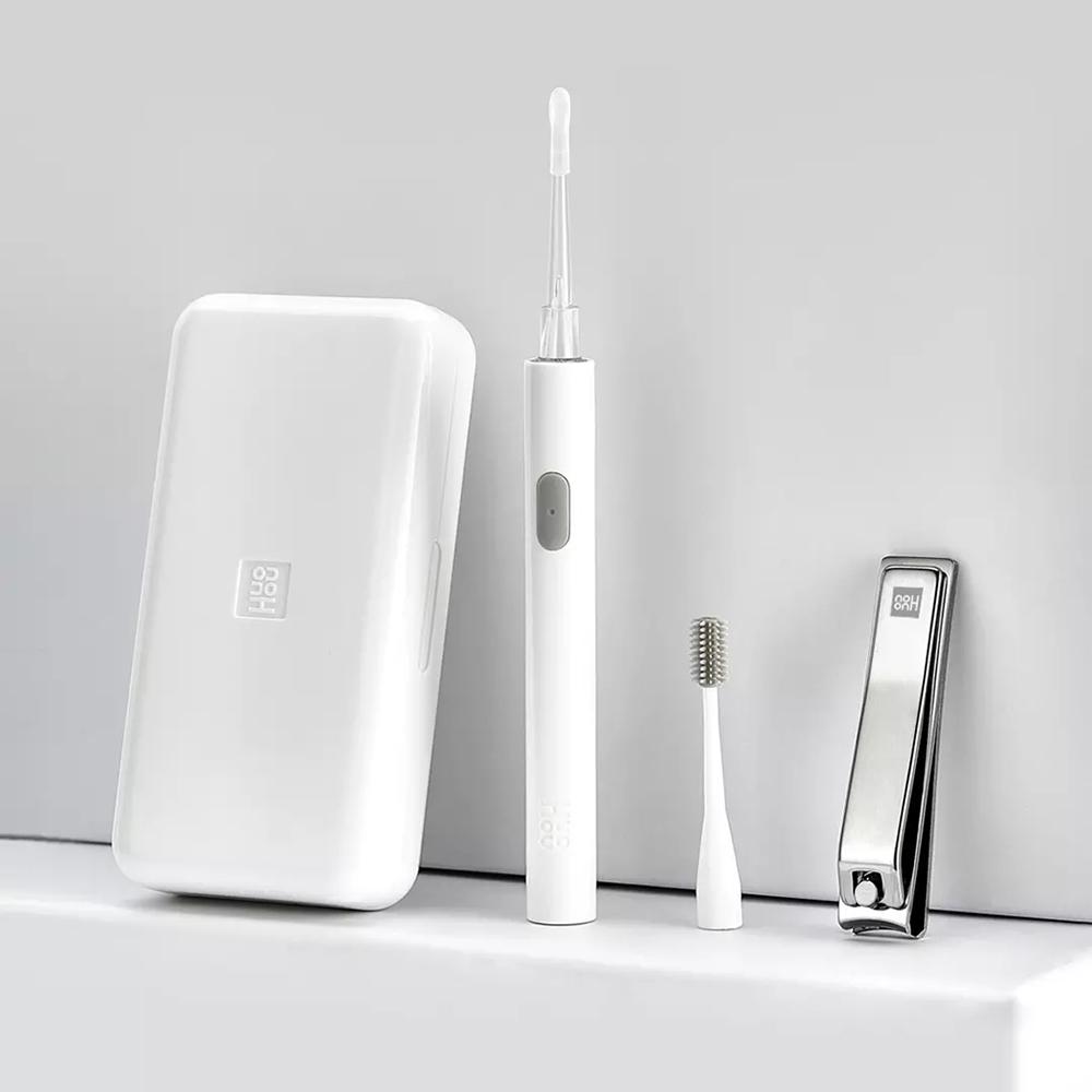 HUOHOU LED Cortaúñas portátil extraíble Juego de cuidado de palillos Auriculares de silicona Carga USB Adecuado para adultos Niños - Blanco