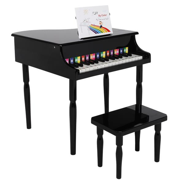 30-key Children's Wooden Piano Four Feet with Music Stand Mechanical Sound Quality - Black