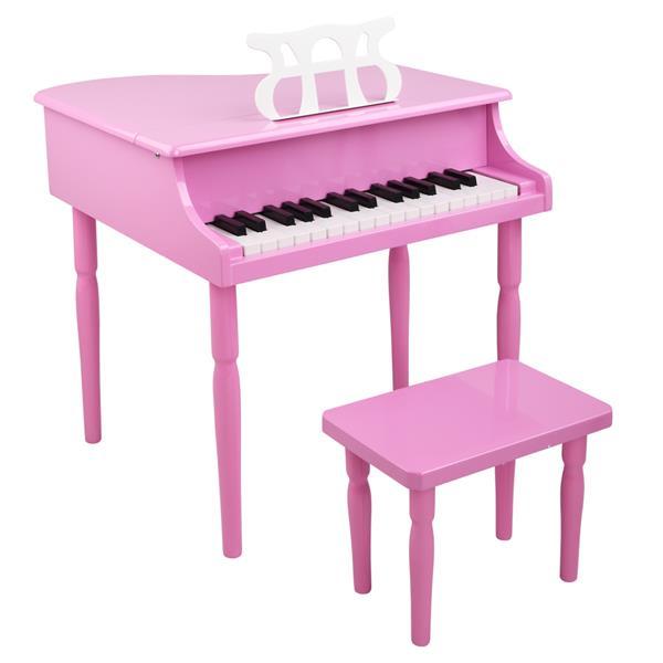 30 kulcsos, fából készült, négy lábas gyermek zongora, zenei állvánnyal, mechanikus hangminőséggel - rózsaszín