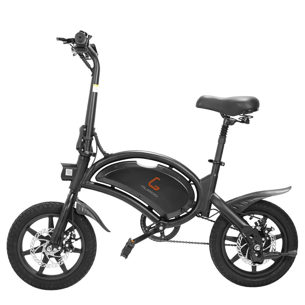 KUGOO KIRIN B2 E-Scooter mit faltbarem Moped-Elektrofahrrad und Pedalen 400 W Bürstenloser Motor Maximale Geschwindigkeit 45 km / h 7.5 Ah Lithiumbatterie Scheibenbremse 14 Zoll Luftreifen Smart App Control - Schwarz