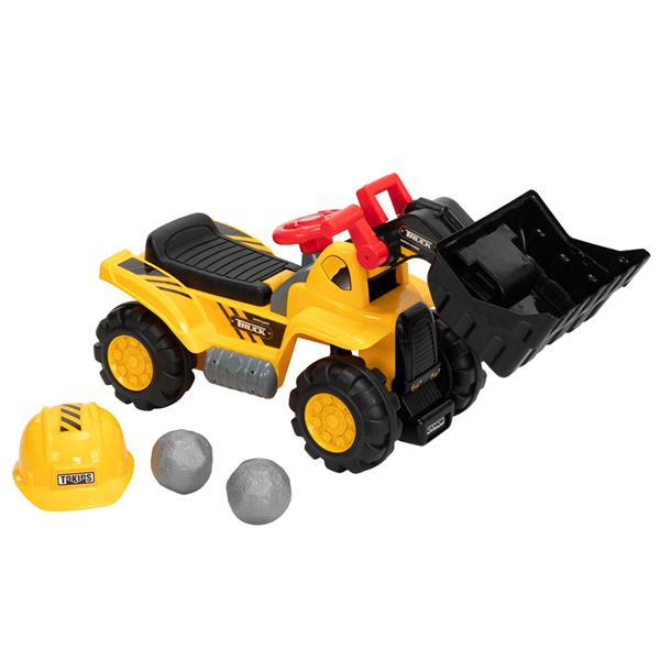 LEADZM Ride On Bulldozer per bambini Scooper per esterni Carrello da traino con corno per escavatore a caricatore frontale