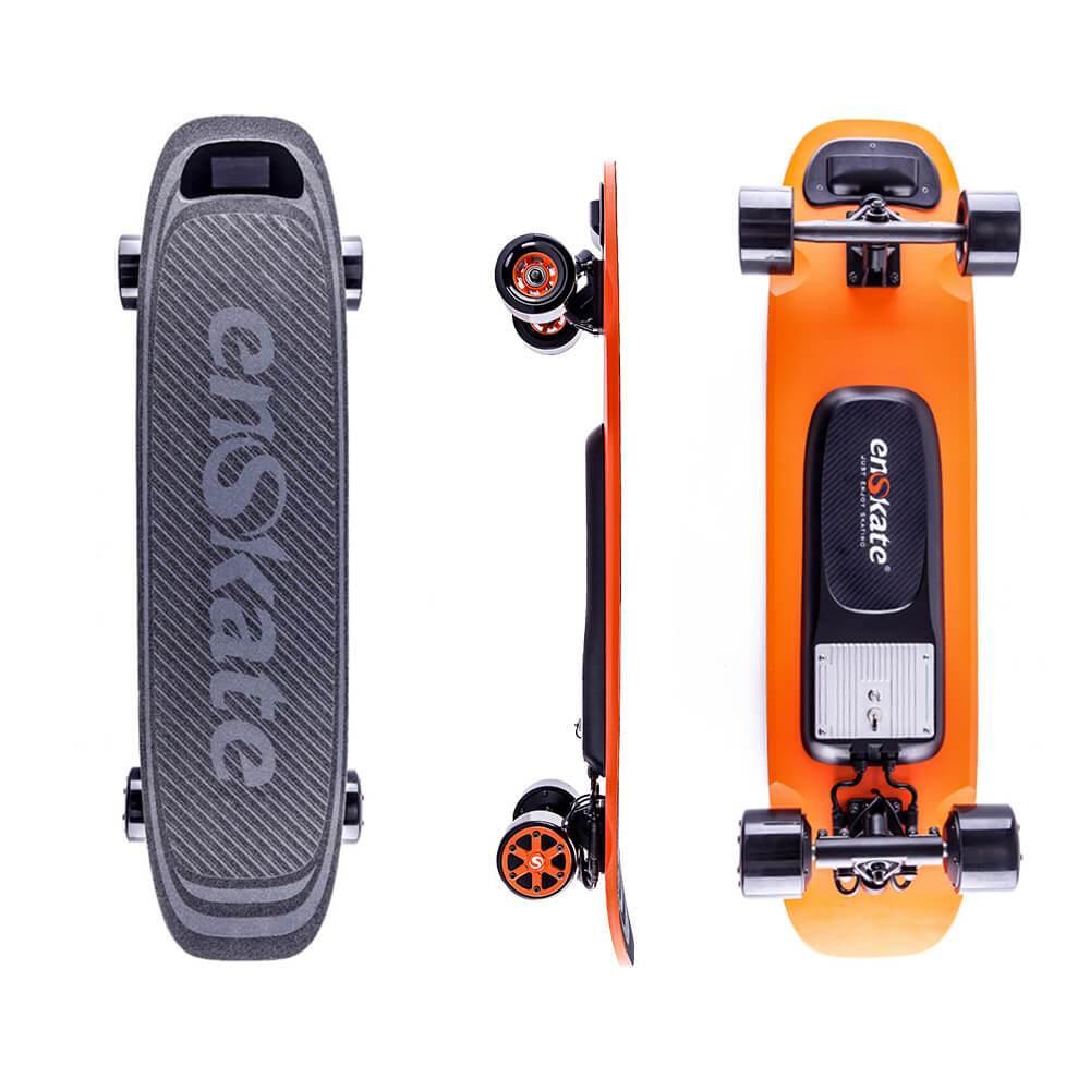 Planche à roulettes électrique Enskate Woboard Dual 450W Moteurs 2500mAh 36V Lithium-ion Samsung Batterie Max 35km / h avec télécommande - Noir + Orange