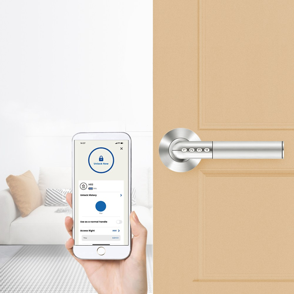 Exitec H02 Intelligent elektronisch combinatieslot Smart keyless antidiefstal deurslot iOS Android Bluetooth APP afstandsbediening - zilver