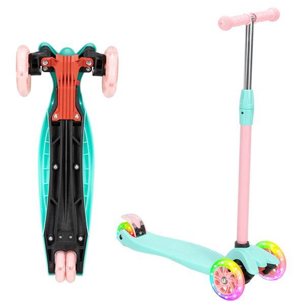 Scooter per bambini 3 ruote 3 luce LED PU regolabile in altezza - blu + rosa