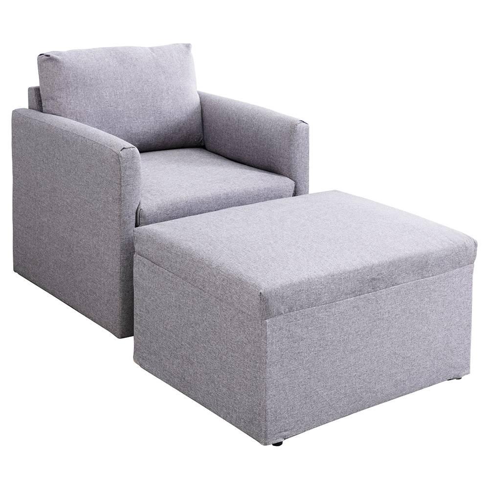 Μονόκλινο Καθιστικό Μινιόν Επικαλυμμένο Καναπές + Καναπές Σκαμπό για Διαμέρισμα / Σοφίτα / Δωμάτιο - Γκρι