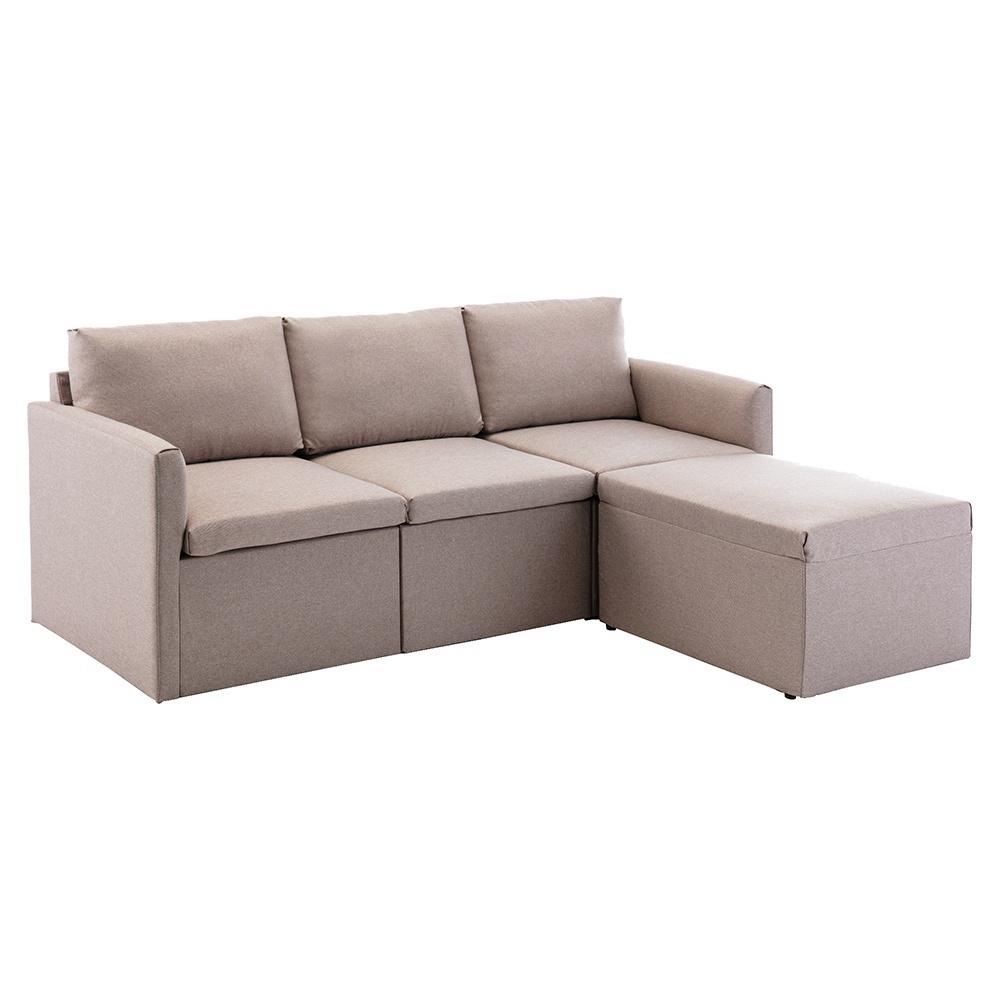 Τρία καθίσματα απομίμησης λευκών ταπετσαριών καναπέ + καναπέ σκαμπό για διαμέρισμα / σοφίτα / δωμάτιο - μπεζ
