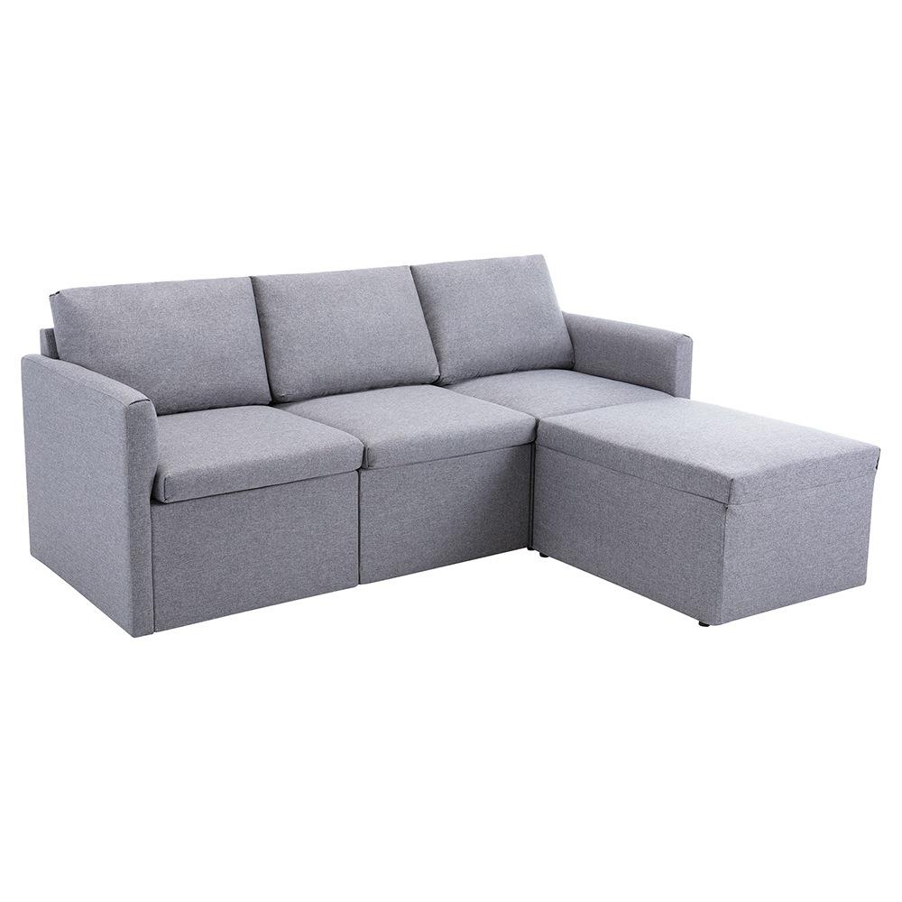 Τρία καθίσματα απομίμησης λευκών ταπετσαριών καναπέ + καναπέ σκαμπό για διαμέρισμα / σοφίτα / δωμάτιο - γκρι