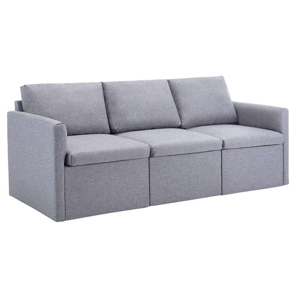 Τρία καθίσματα απομίμησης λευκών ταπετσαριών καναπέ για διαμέρισμα / σοφίτα / δωμάτιο - γκρι