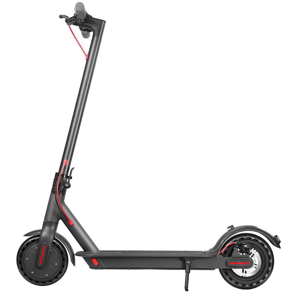D8 Pro Electric Folding Scooter 7.8Ah Battery BMS 350W Motor Max Speed 25km/h Rear Light Aluminum Body 8.5 Inch Solid Honeycomb Tire APP Control - Black