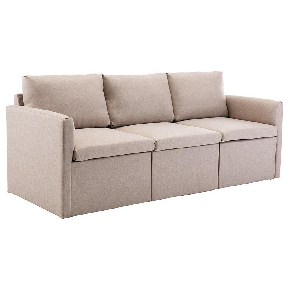 Τρία καθίσματα απομίμησης λευκών ταπετσαριών καναπέ για διαμέρισμα / σοφίτα / δωμάτιο - μπεζ
