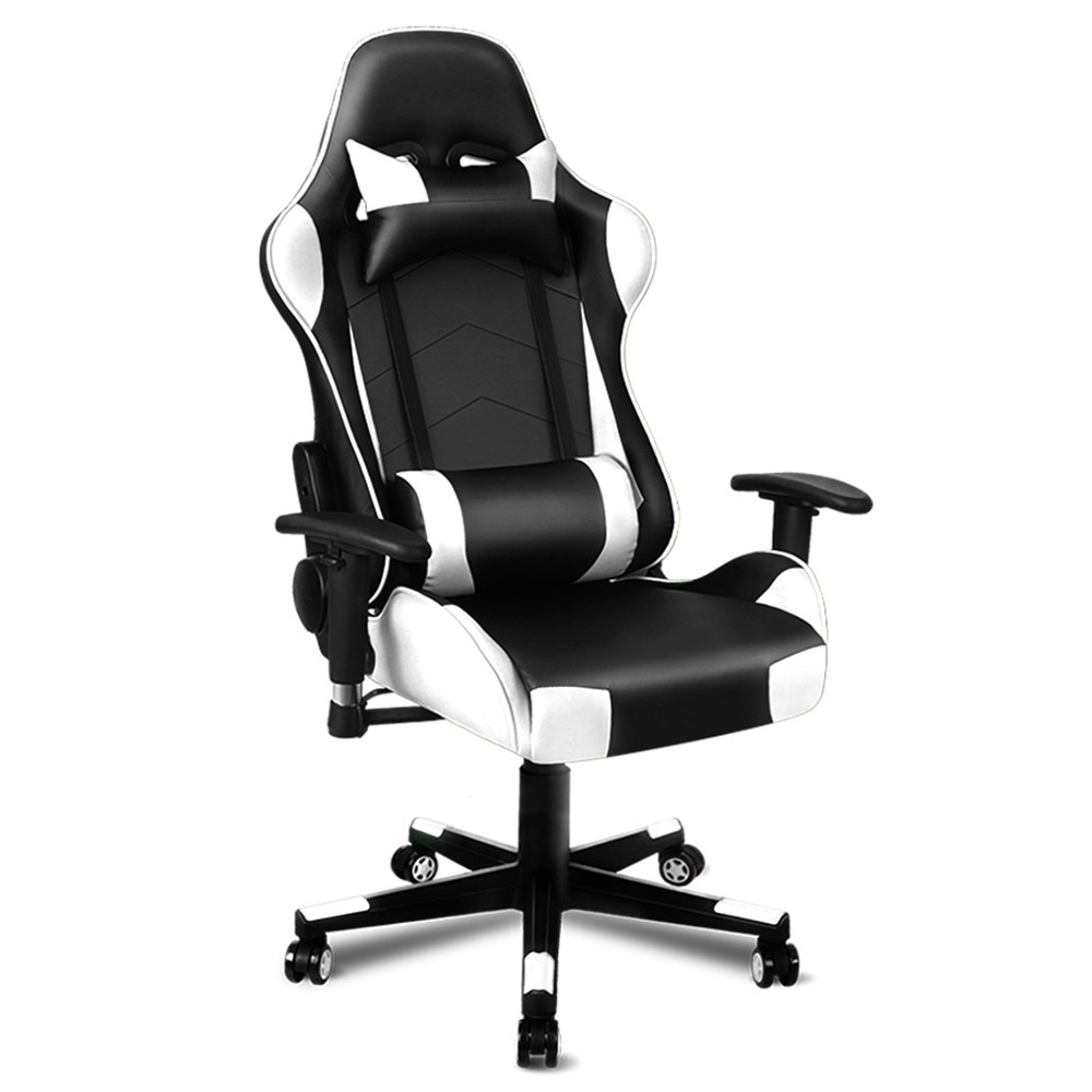 ALFORDSON Rotatable Height Adjustable PU Leather Chair Full Metal Frame High Resilience Foam Filling Universal Wheel 180 Degrees Backward For Gaming Office - Black + White