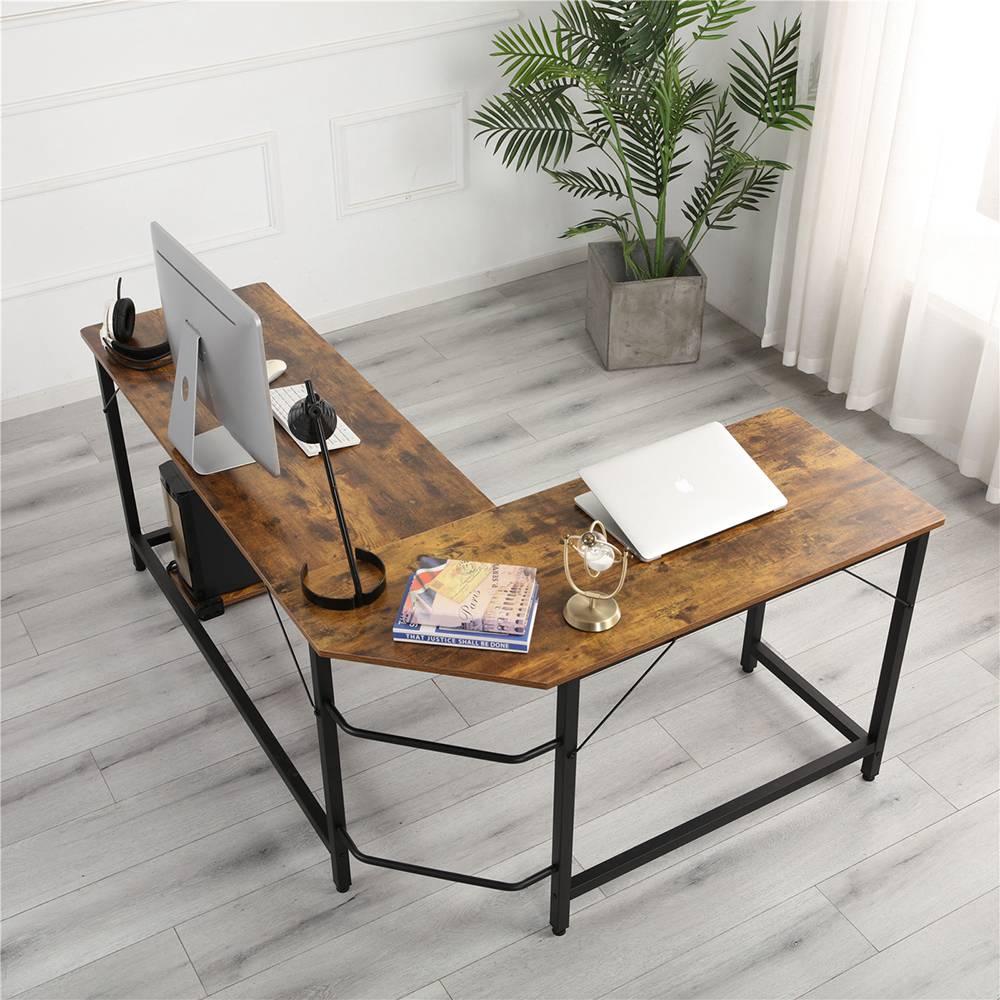 Bureau à domicile Table d'angle combinée en forme de L Cadre en acier Chêne avec plateau principal amovible pour lire un ordinateur d'écriture - Noir + grain de bois