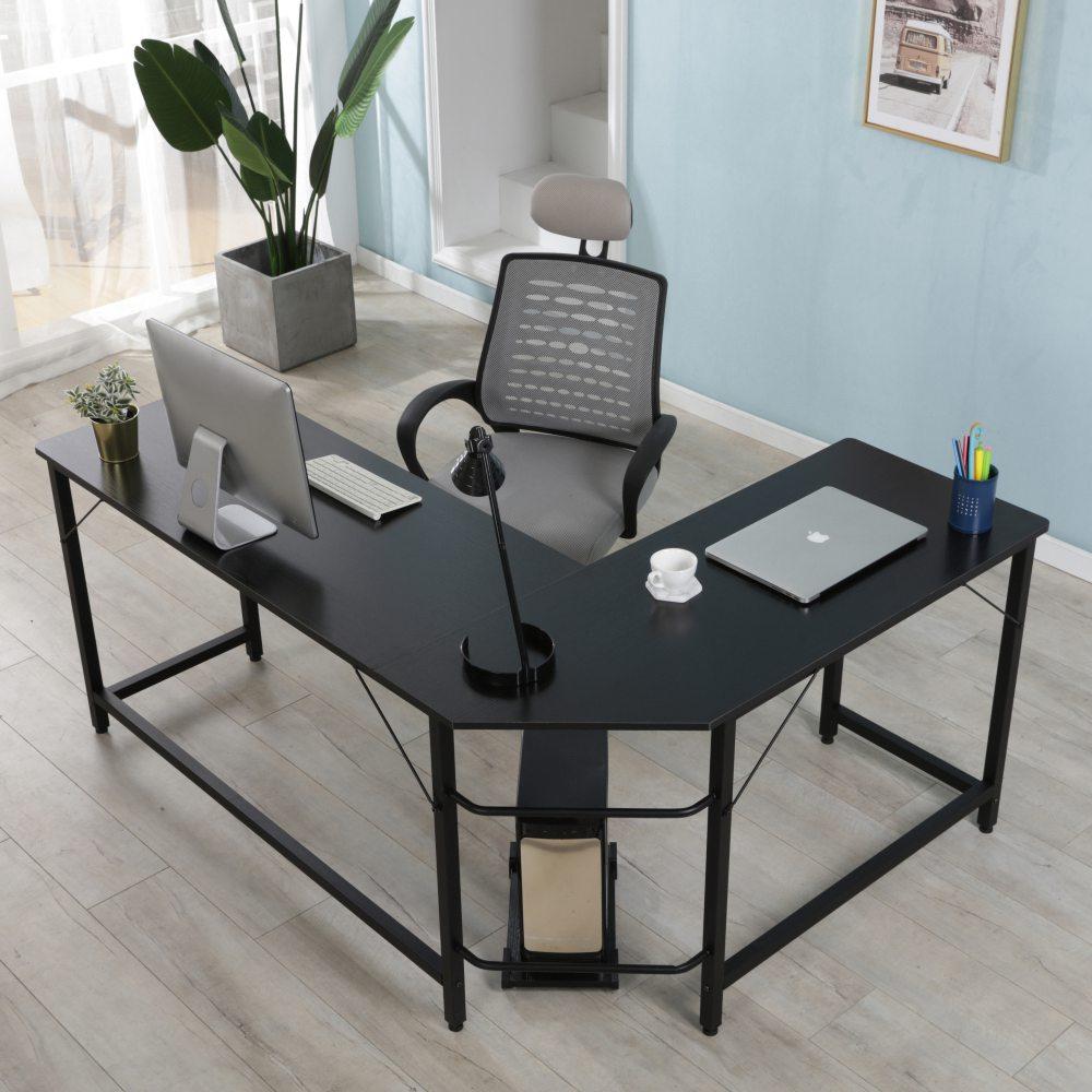 Bureau à domicile Table d'angle combinée en forme de L Cadre en acier Chêne avec plateau principal amovible pour lire un ordinateur d'écriture - Noir