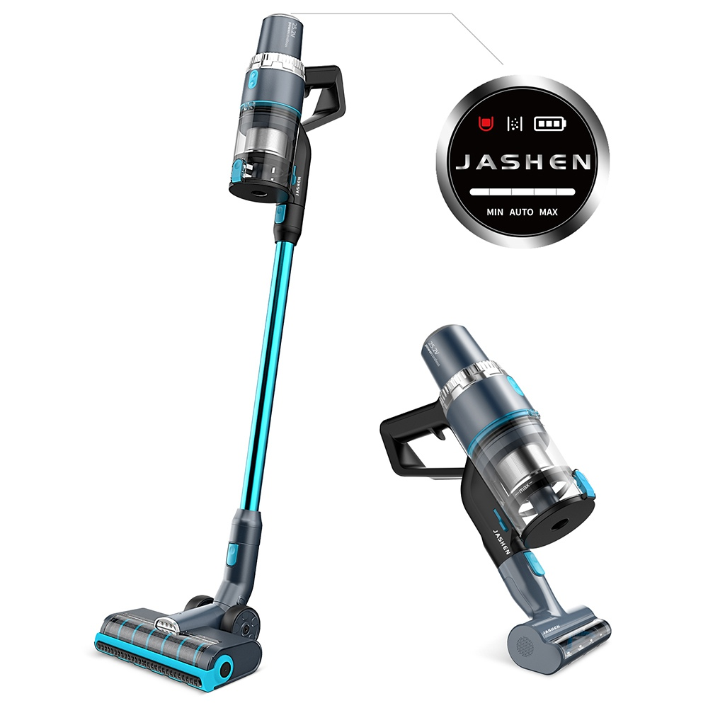 JASHEN V18 Cordless Vacuum Cleaner, 350W Power Strong Suction 2 LED Powered Brushes Cordless Stick Vacuum, Dual Charging Wall Mount for Carpet Hardwood Floor Rug Pet Hair - Blue