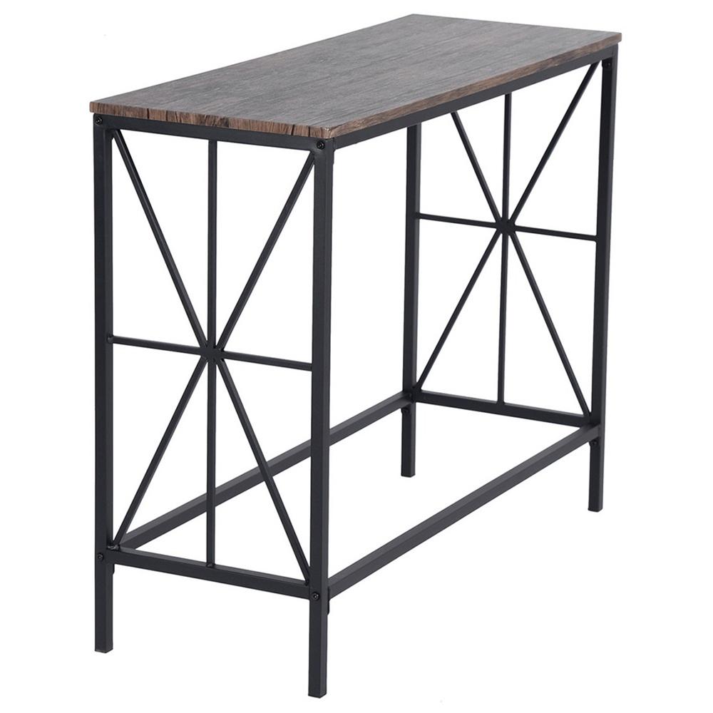NAVIN-LMKZ Table en bois simple cadre en acier de style industriel en chêne pour salle de bain de chambre à coucher couloir - marron foncé