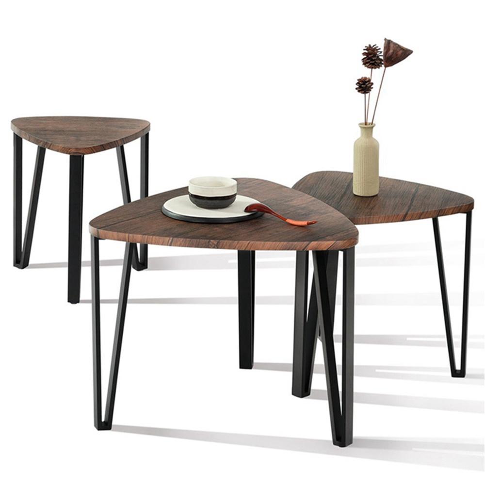 Ensemble de porte-boissons pour table basse triangulaire pour chambre à coucher, salon - brun foncé