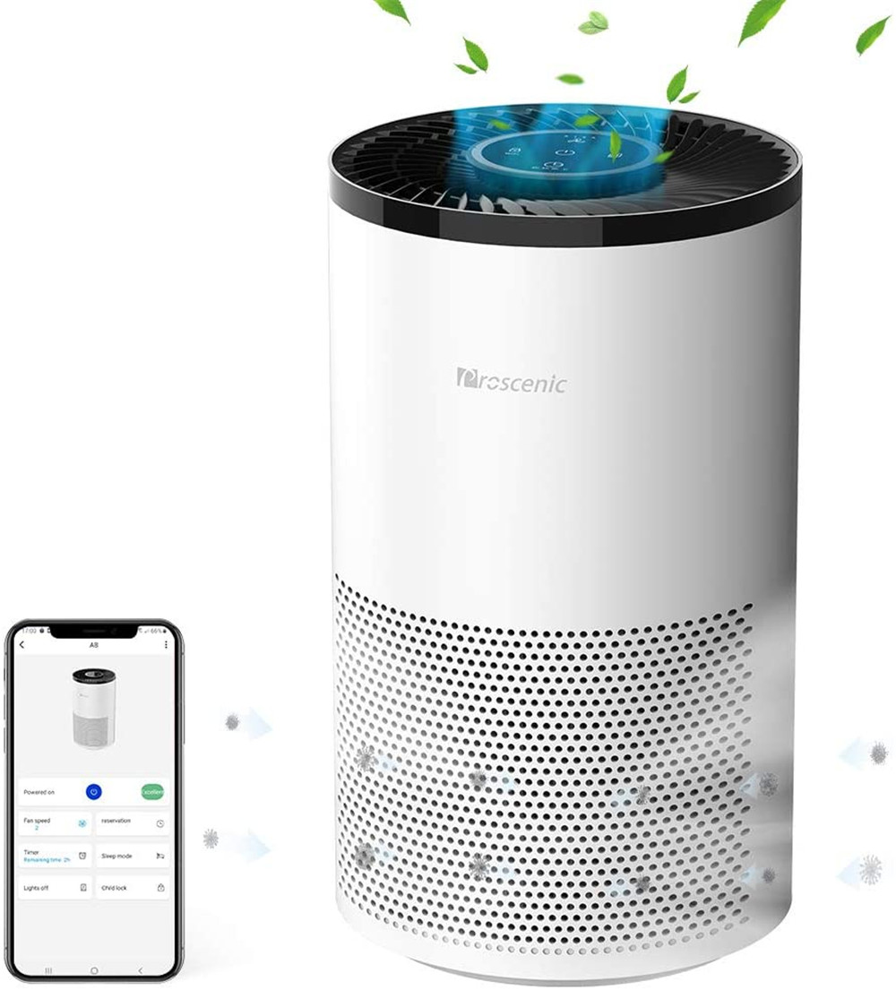 Proscenic A8 Air Purifier for Home with H13 True HEPA Filter、APP&Alexa&Google Voice Control、Air Cleaner for Smokers Allergies Pets Hairs Odor Eliminators、4 Stages Filtration、Timer&Schedule-White