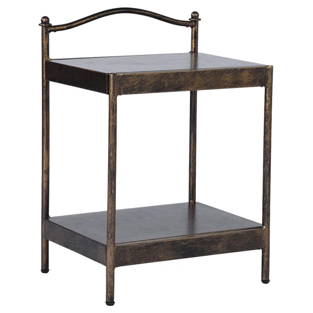 47 x 37 x 66 cm carré présentoir de table basse à deux couches bord en métal pour salon chambre cuisine - bronze