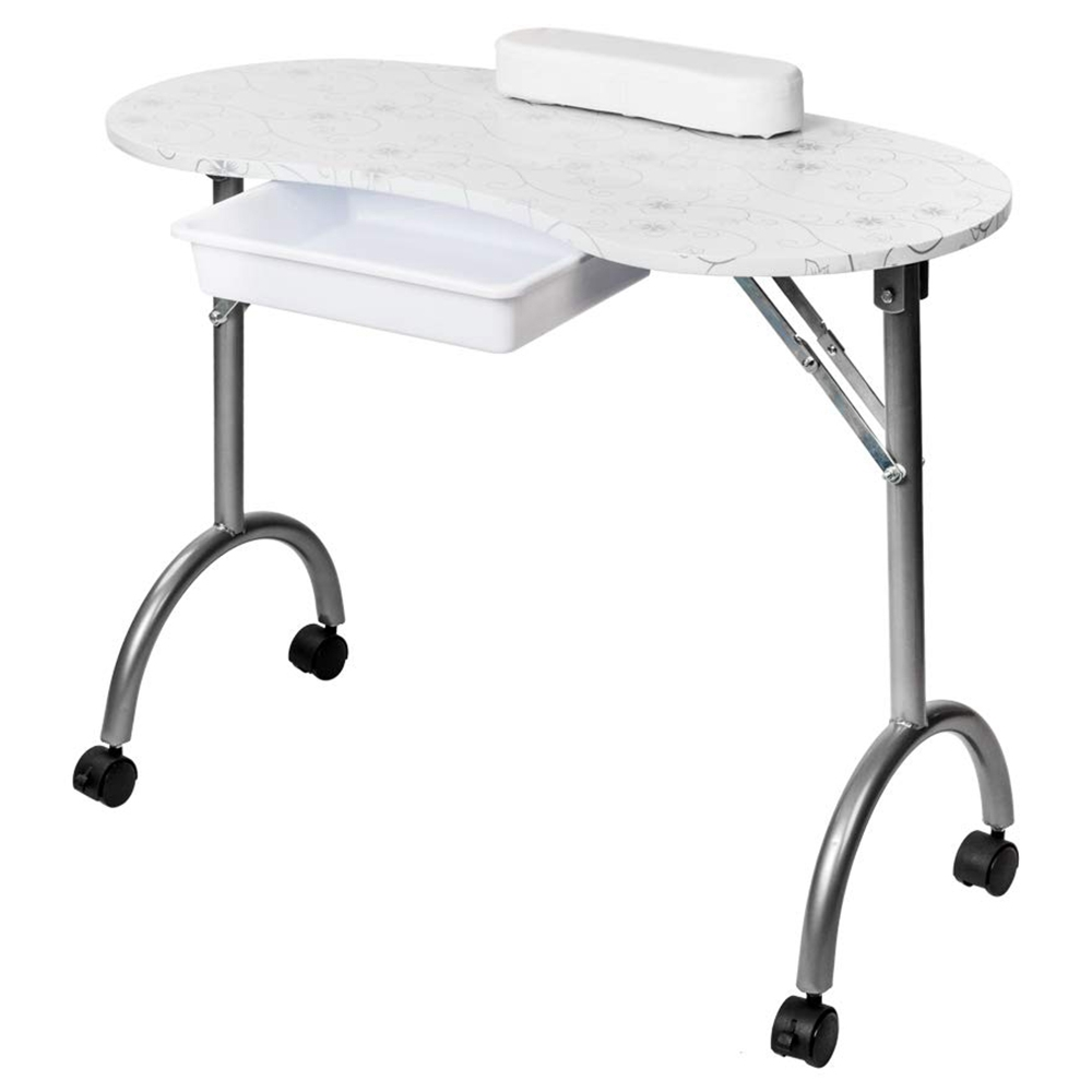 Portable Foldable MDF Nail Table Easy to Clean With Armrests and Drawers  For Salon Spa - White